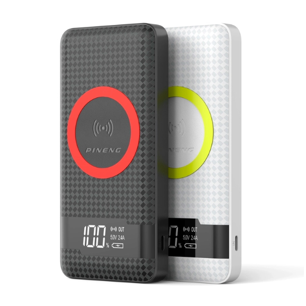 Picture of PINENG 10000mAh WIRELESS CHARGING POWER BANK BLACK/WHITE PN-886